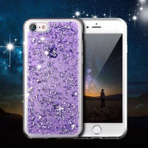 чехлы для Айфон блестки фиолетовый