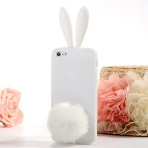 Силиконовый чехол-зайчик Rabito с ушками белый для iPhone 5