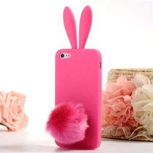 Силиконовый чехол-зайчик Rabito с ушками Ярко - Розовый для iPhone 5