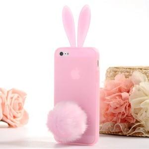 Силиконовый чехол-зайчик Rabito с ушками Бледно - Розовый для iPhone 5