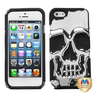Защитный чехол Череп Skull Head Серебро для iPhone 5
