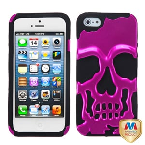 Защитный чехол Череп Skull Head Ярко розовый для iPhone 5