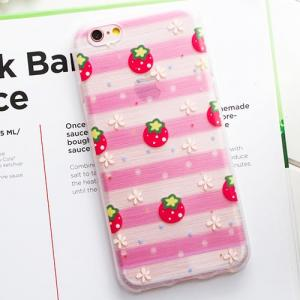 Cиликоновый чехол Arsenal Strawberry Striped для iPhone 6s Plus