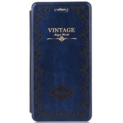 Кожаный чехол Vintage Mosso Book Deep Blue Темно-Синий для iPhone 7&7s