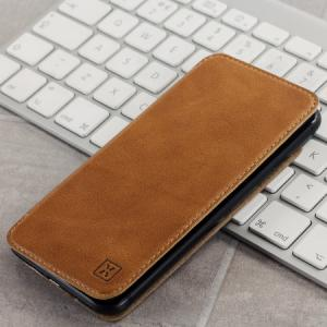 Чехол Кожаный Slim Genuine Leather Flip Wallet - Tan для IPhone X