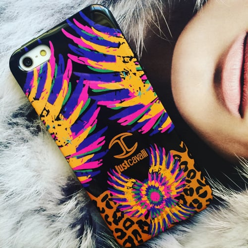 Силиконовый чехол Just Cavalli Cover Birds Orange для IPhone 5/5s